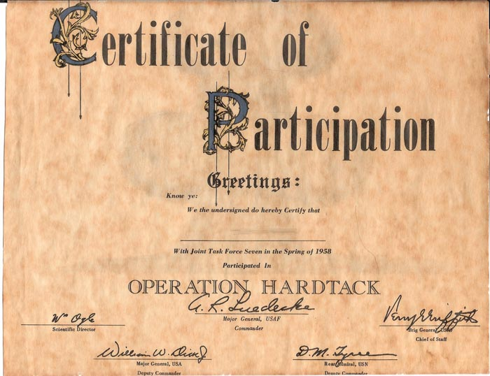 Operation Hardtack Certificate of Participation